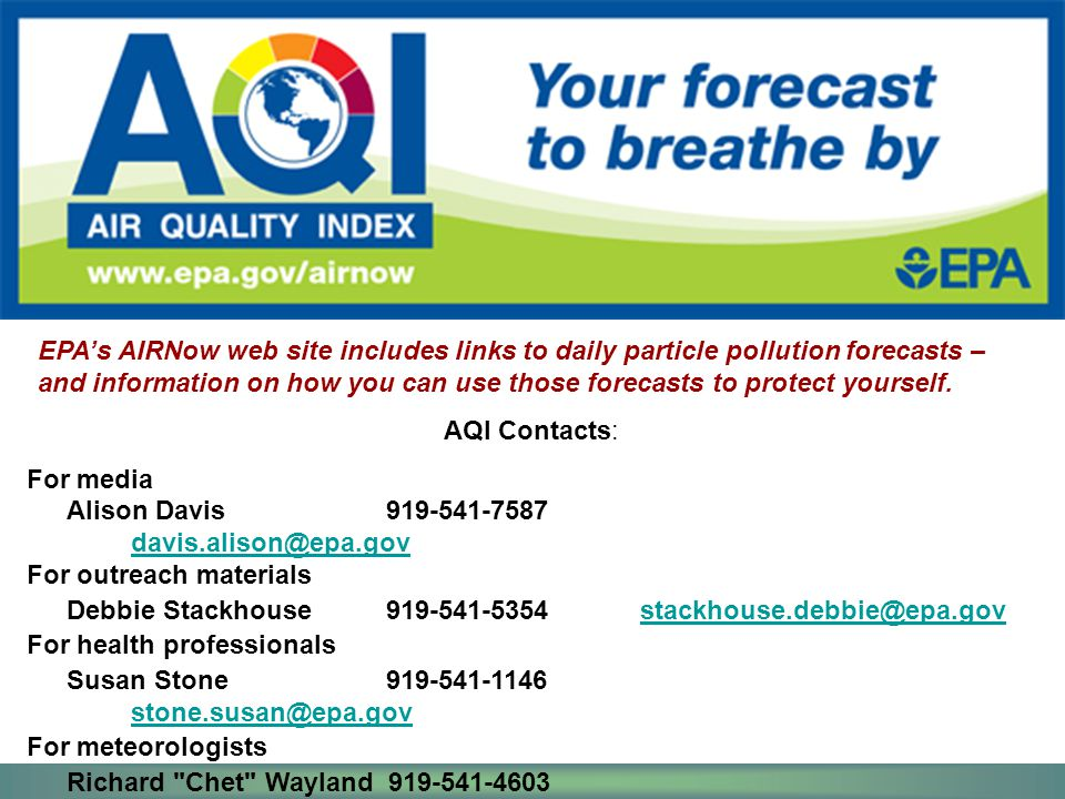 EPA's AIRNow web site includes links to daily particle pollution forecasts – and information on how you can use those forecasts to protect yourself.