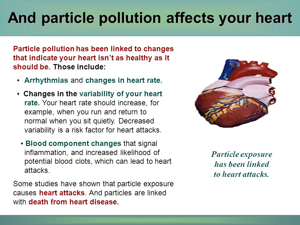 And particle pollution affects your heart