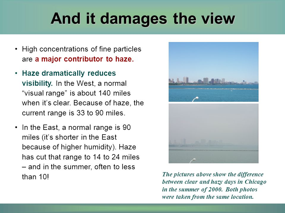 And it damages the view High concentrations of fine particles are a major contributor to haze.