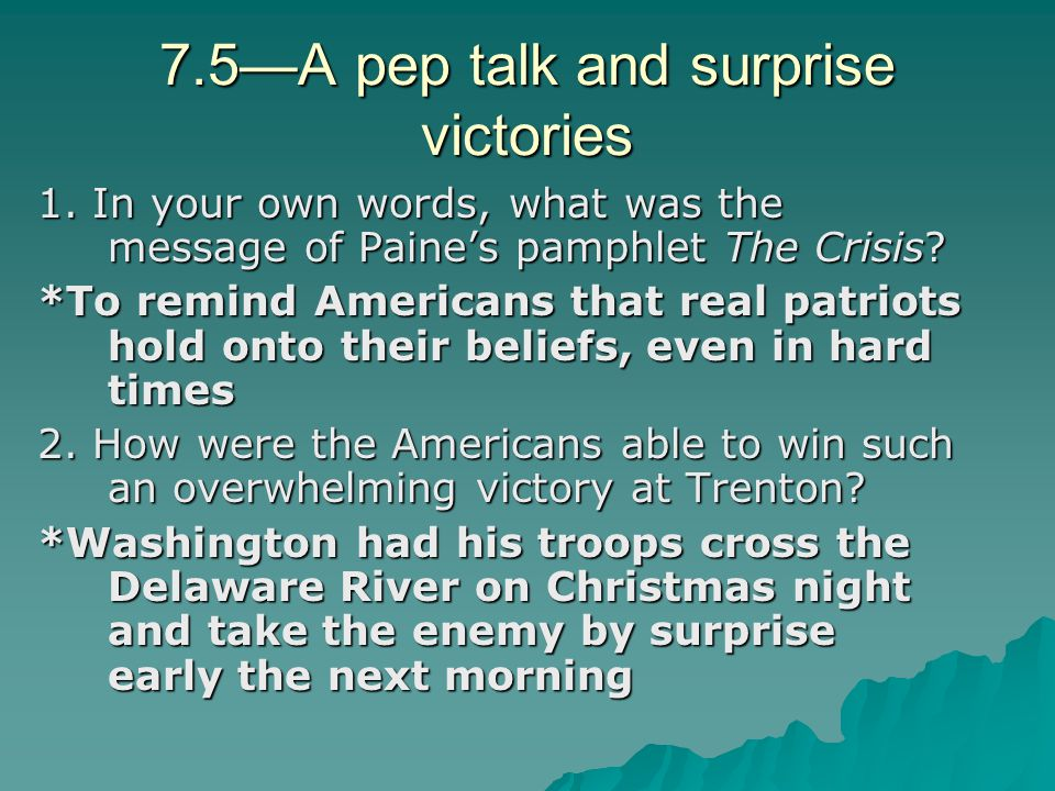 7.5—A pep talk and surprise victories