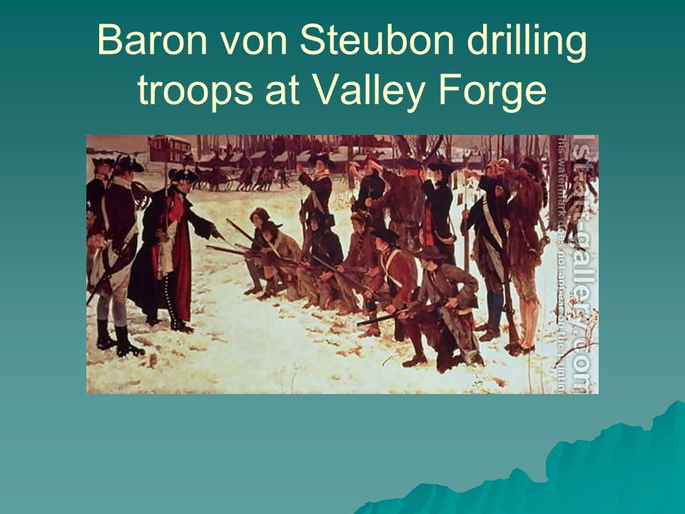 Baron von Steubon drilling troops at Valley Forge