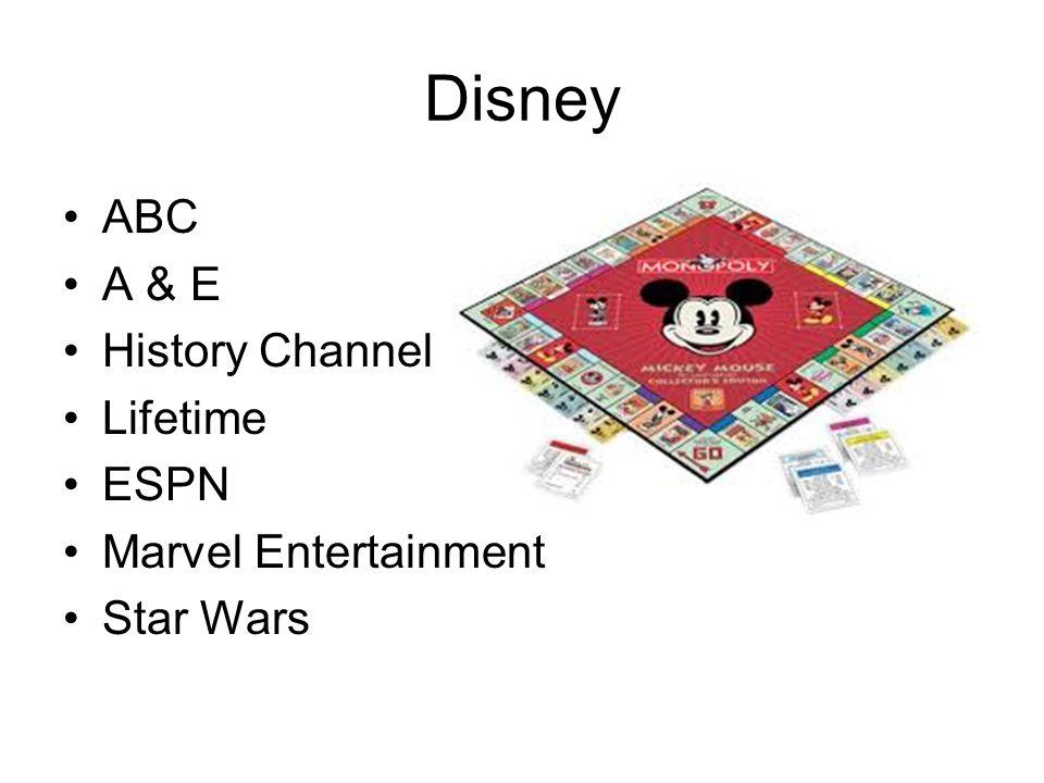 Disney ABC A & E History Channel Lifetime ESPN Marvel Entertainment