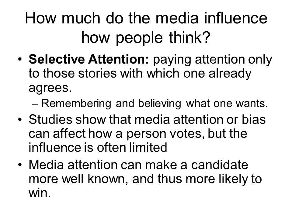 How much do the media influence how people think