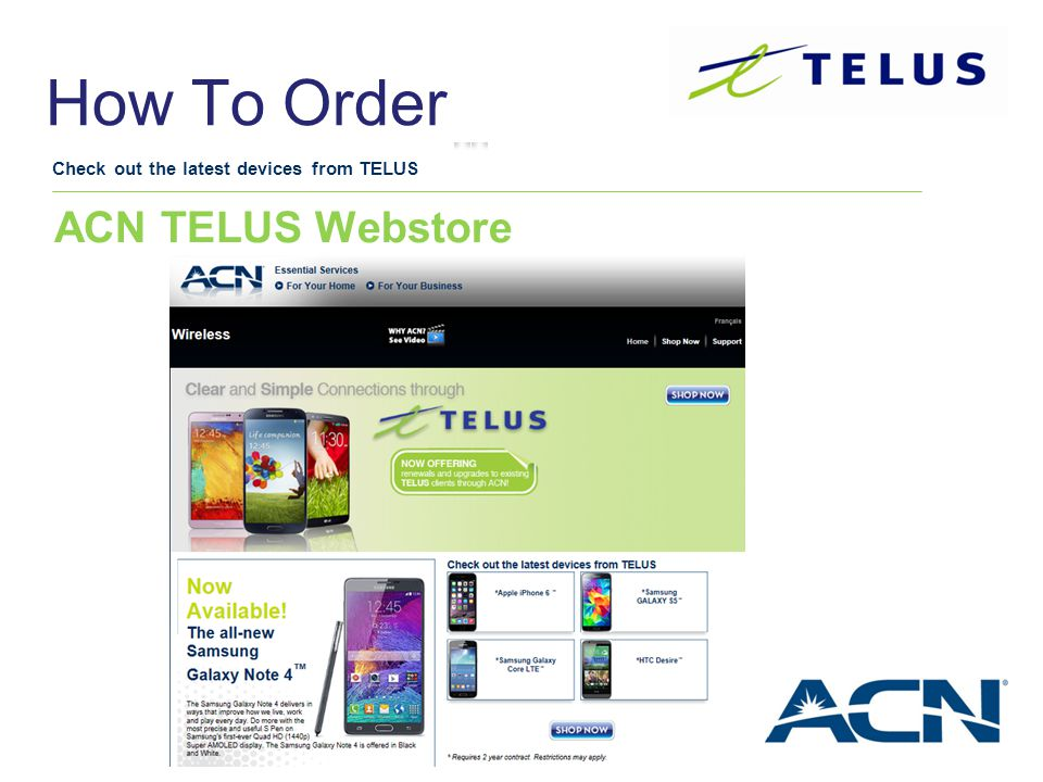 How To Order ACN TELUS Webstore