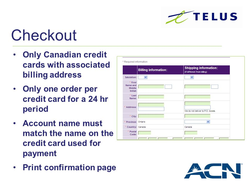 Checkout Only Canadian credit cards with associated billing address