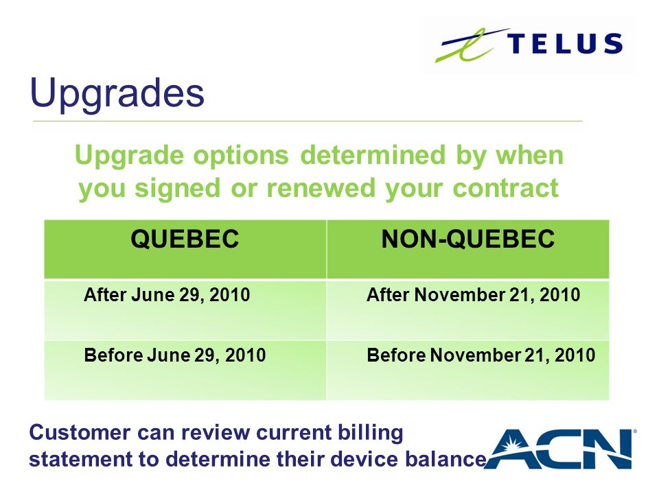 Upgrade options determined by when you signed or renewed your contract