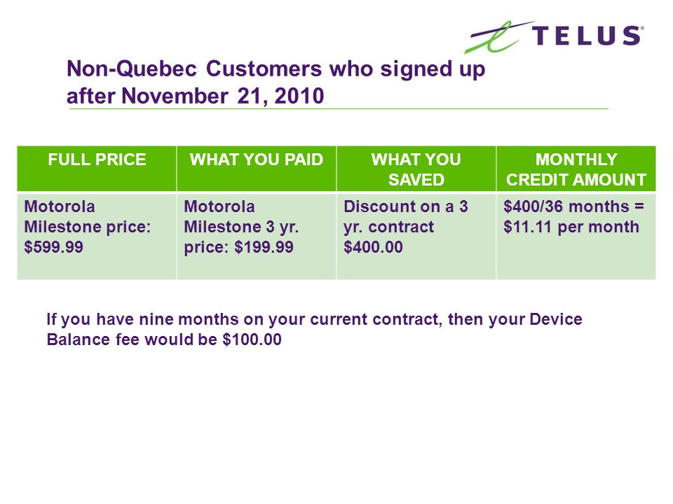 Non-Quebec Customers who signed up after November 21, 2010