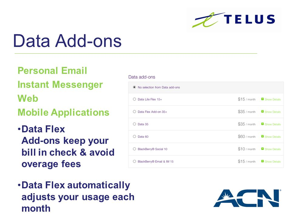 Data Add-ons Personal Email Instant Messenger Web Mobile Applications