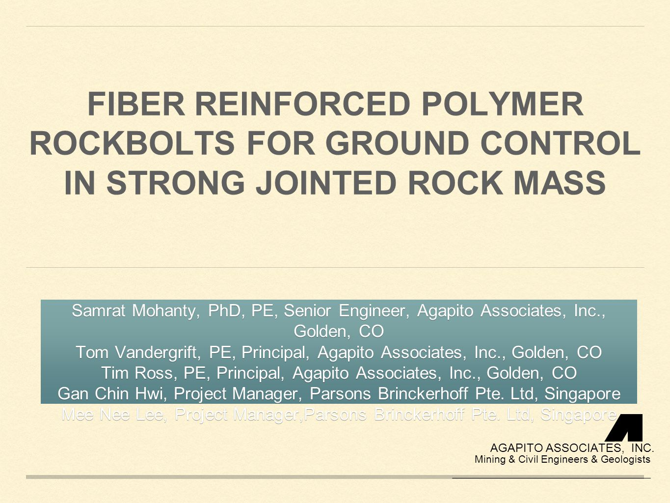 Fiber Reinforced Polymer RockBolts for Ground Control in Strong Jointed Rock Mass