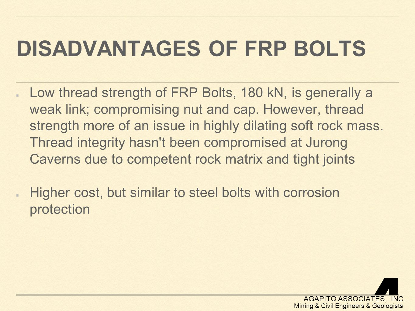 Disadvantages of FRP Bolts