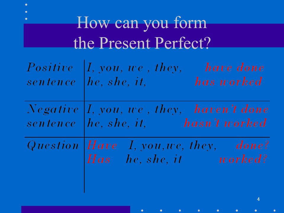 How can you form the Present Perfect