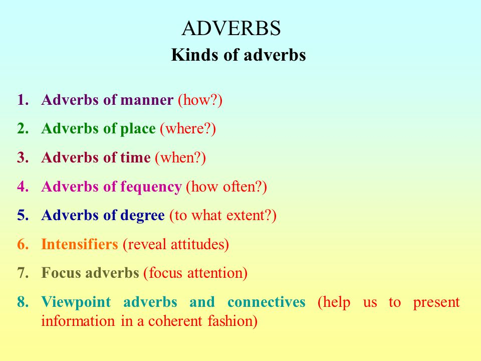 Adverbs Kinds Of Adverbs Adverbs Of Manner How Ppt Video Online