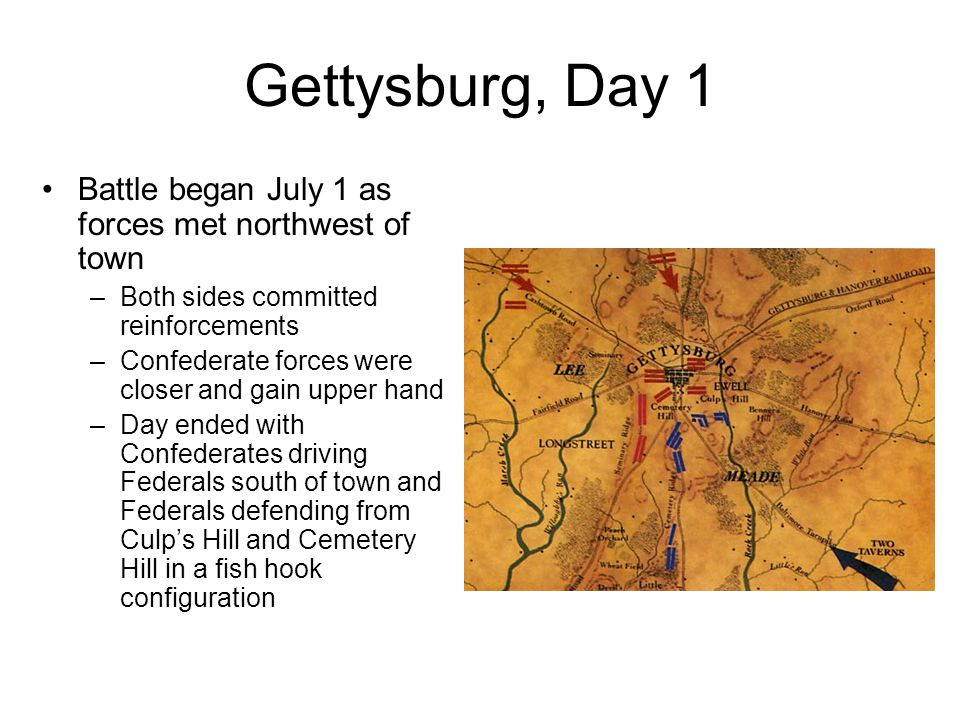 Gettysburg, Day 1 Battle began July 1 as forces met northwest of town