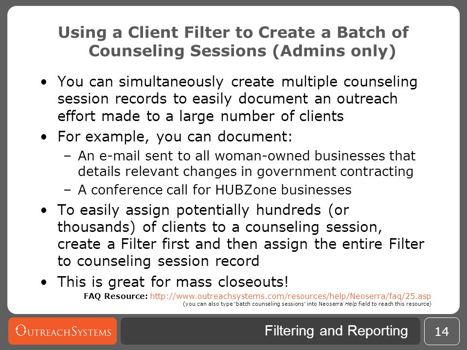 Using a Client Filter to Create a Batch of Counseling Sessions (Admins only)