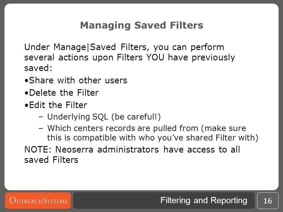 Managing Saved Filters