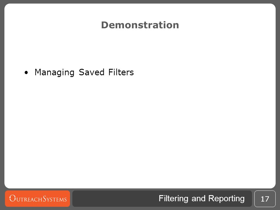 Demonstration Managing Saved Filters