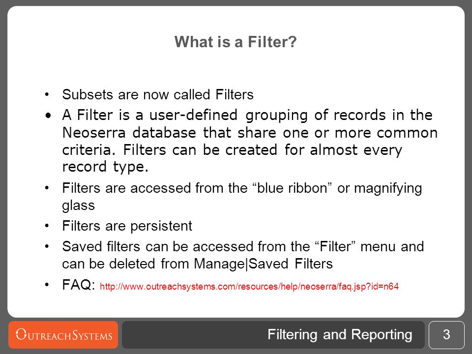 What is a Filter Subsets are now called Filters
