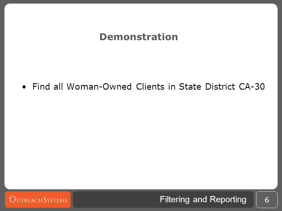 Demonstration Find all Woman-Owned Clients in State District CA-30