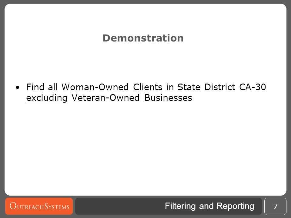 Demonstration Find all Woman-Owned Clients in State District CA-30 excluding Veteran-Owned Businesses.