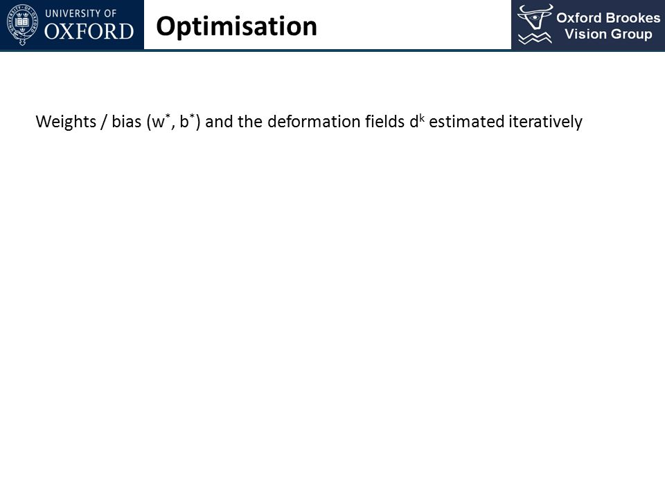 Optimisation Weights / bias (w*, b*) and the deformation fields dk estimated iteratively