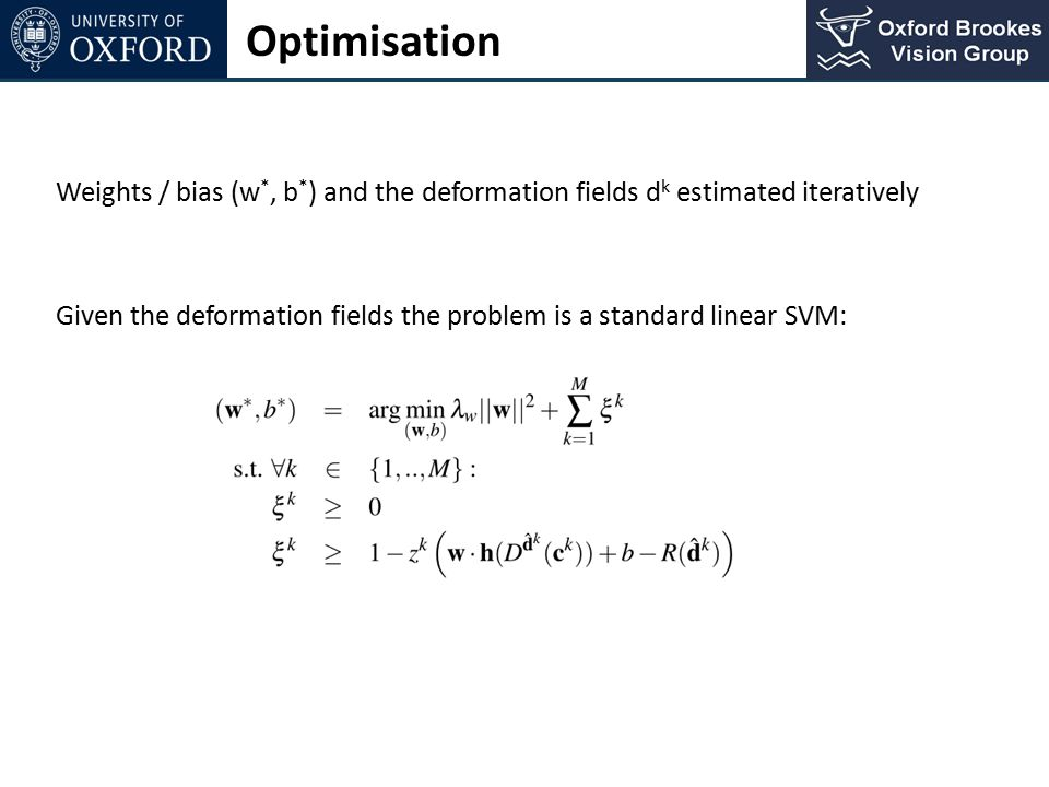 Optimisation Weights / bias (w*, b*) and the deformation fields dk estimated iteratively.
