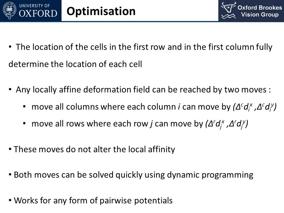Optimisation The location of the cells in the first row and in the first column fully determine the location of each cell.