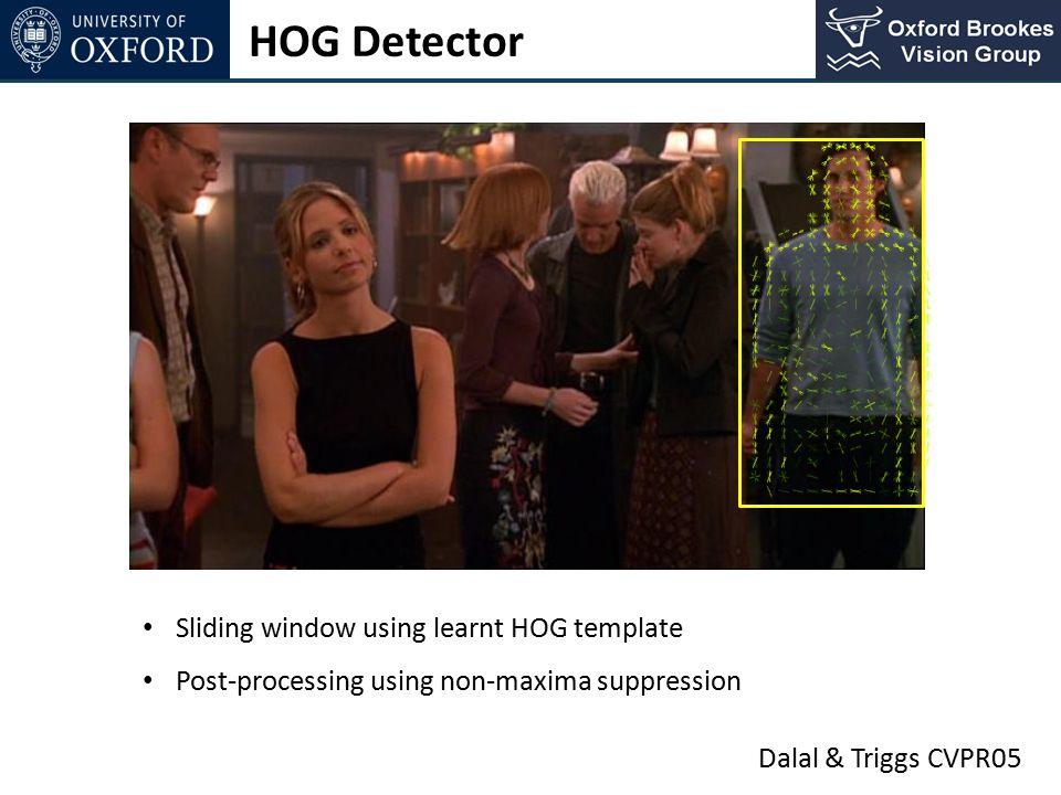 HOG Detector Sliding window using learnt HOG template