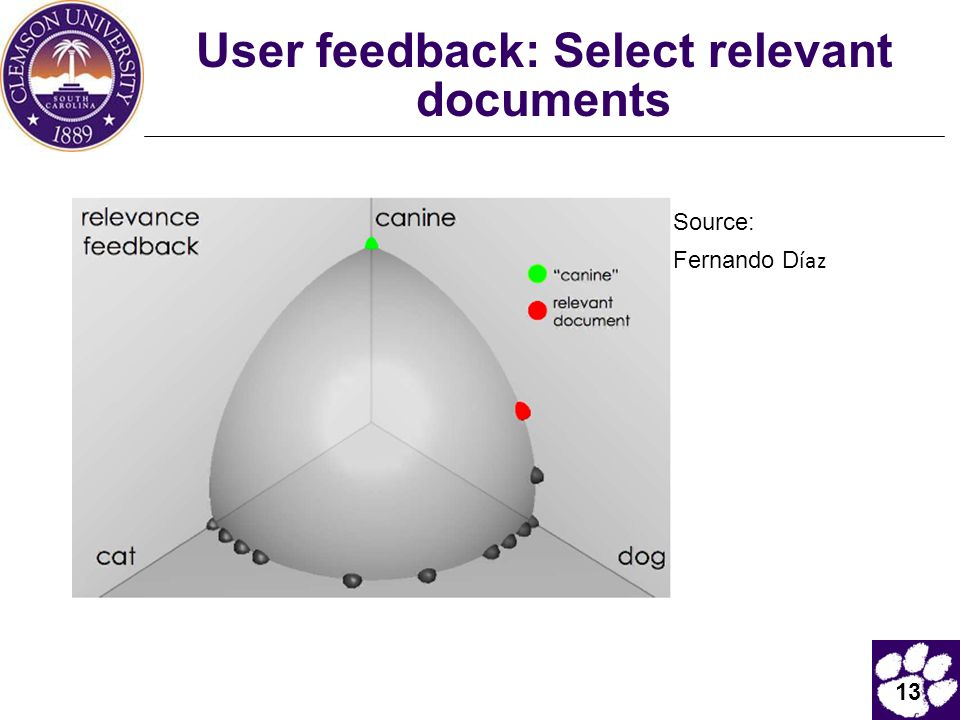 User feedback: Select relevant documents