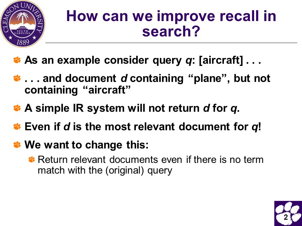 How can we improve recall in search