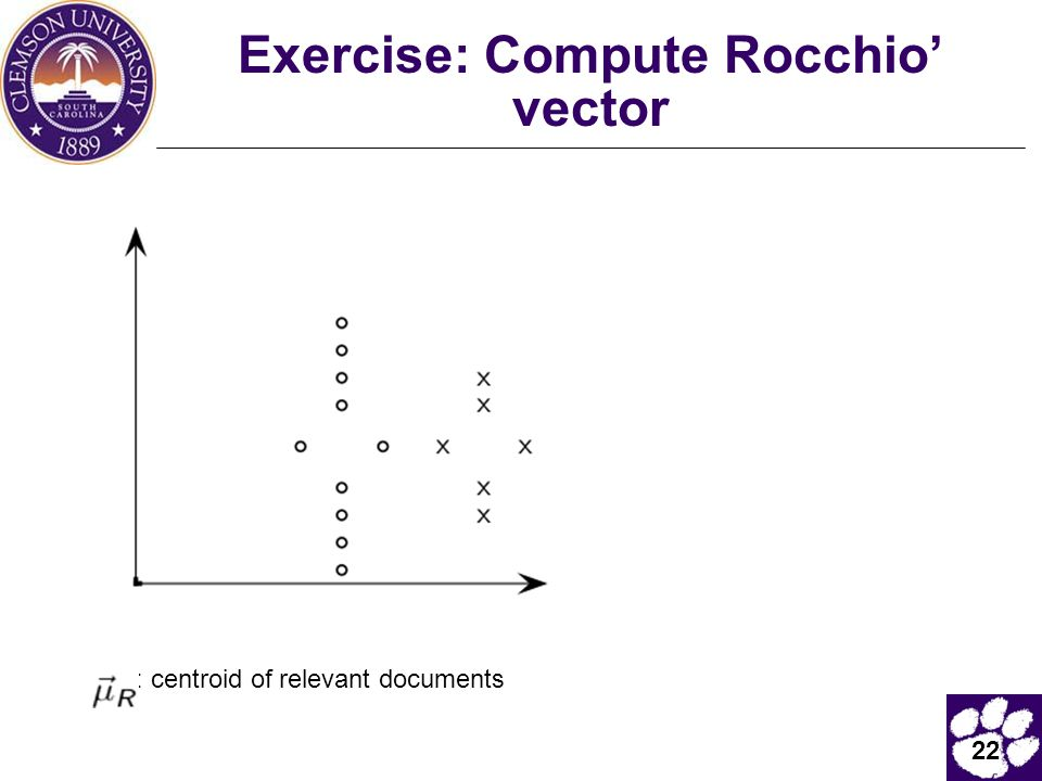 Exercise: Compute Rocchio' vector