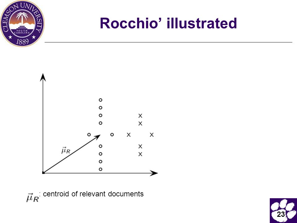 Rocchio' illustrated : centroid of relevant documents