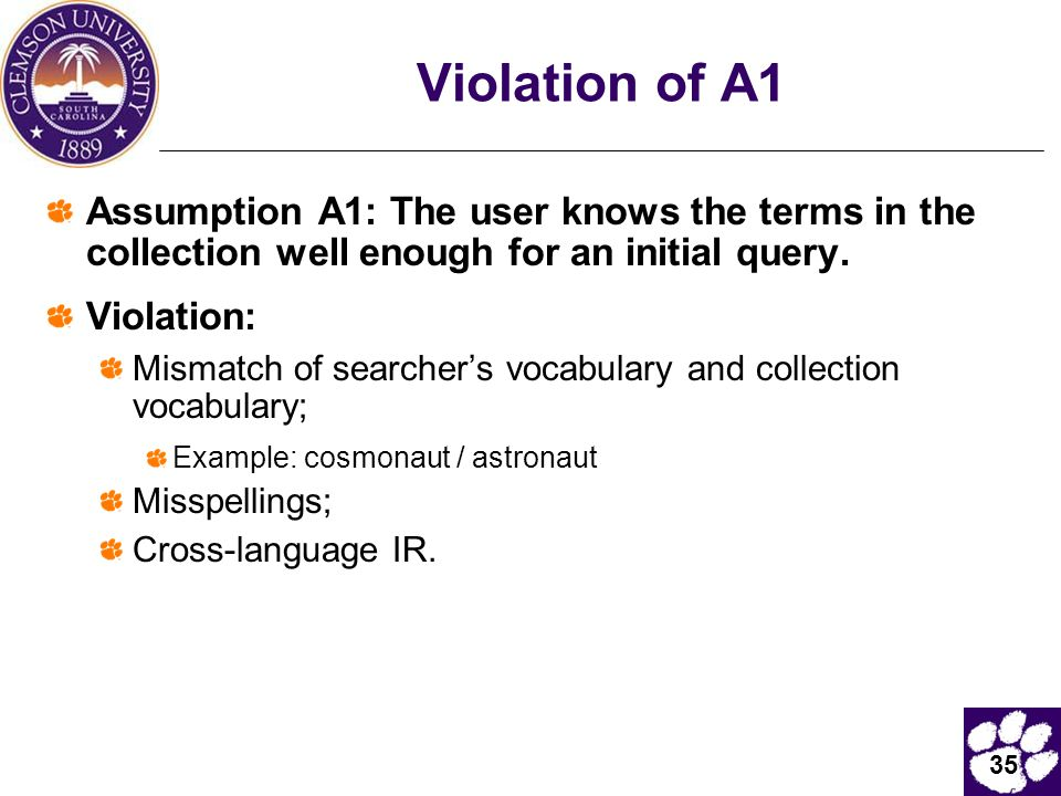 Violation of A1 Assumption A1: The user knows the terms in the collection well enough for an initial query.