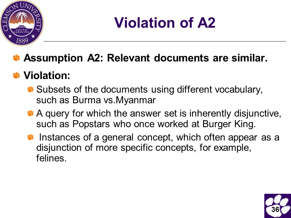 Violation of A2 Assumption A2: Relevant documents are similar.