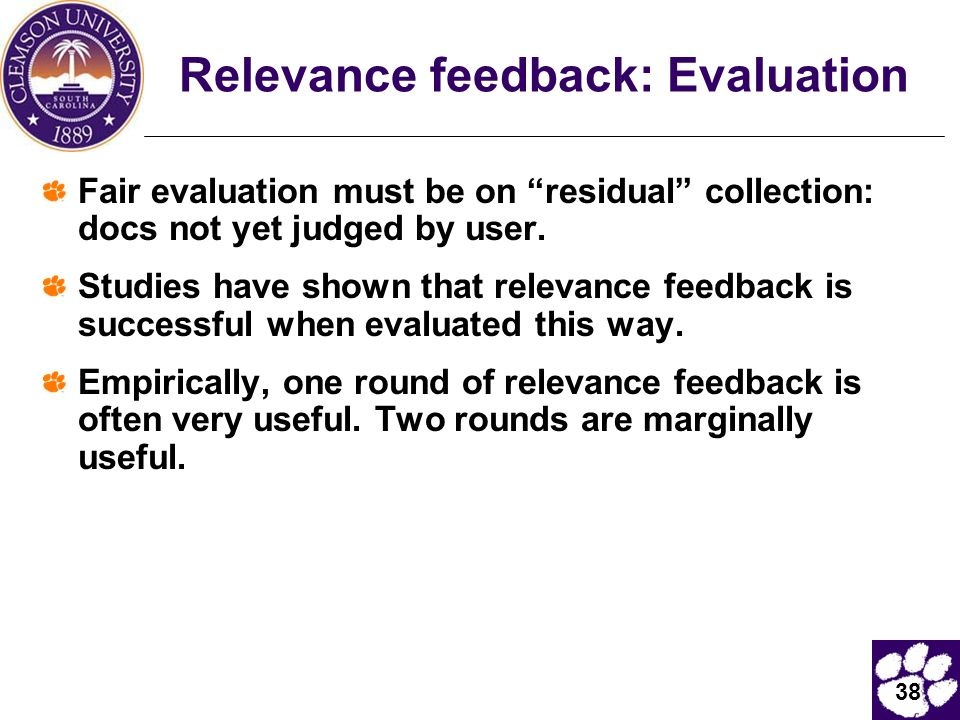 Relevance feedback: Evaluation