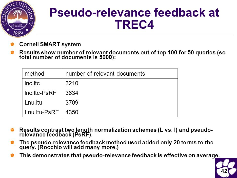Pseudo-relevance feedback at TREC4