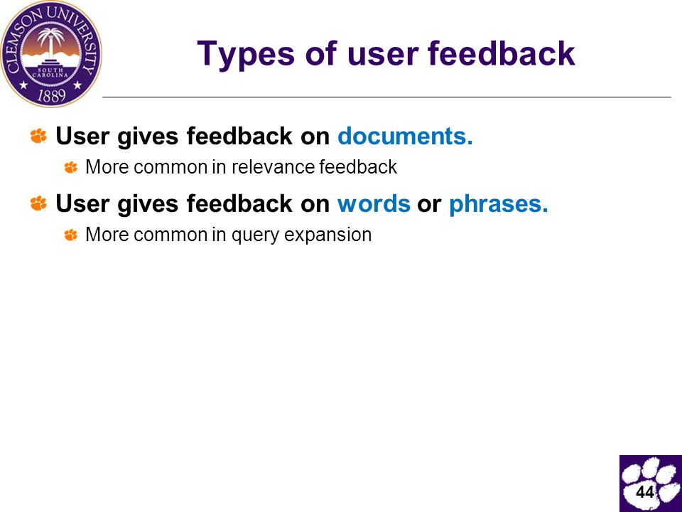 Types of user feedback User gives feedback on documents.