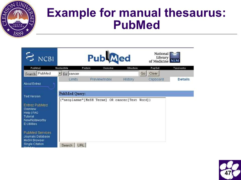 Example for manual thesaurus: PubMed