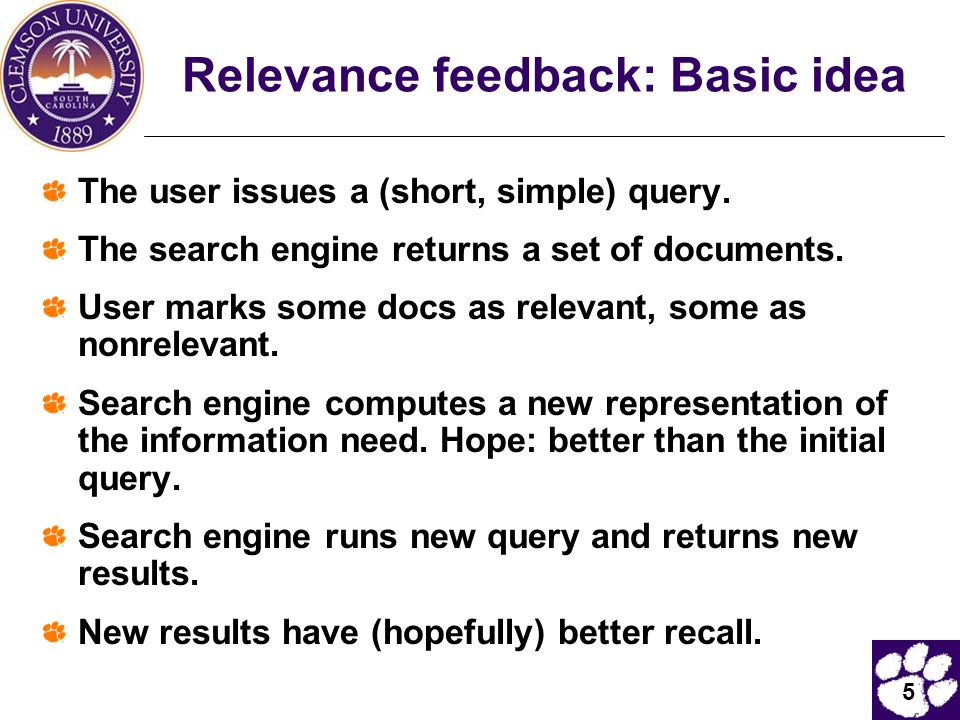 Relevance feedback: Basic idea