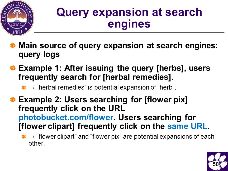 Query expansion at search engines