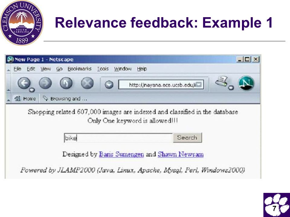 Relevance feedback: Example 1