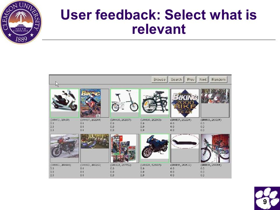 User feedback: Select what is relevant
