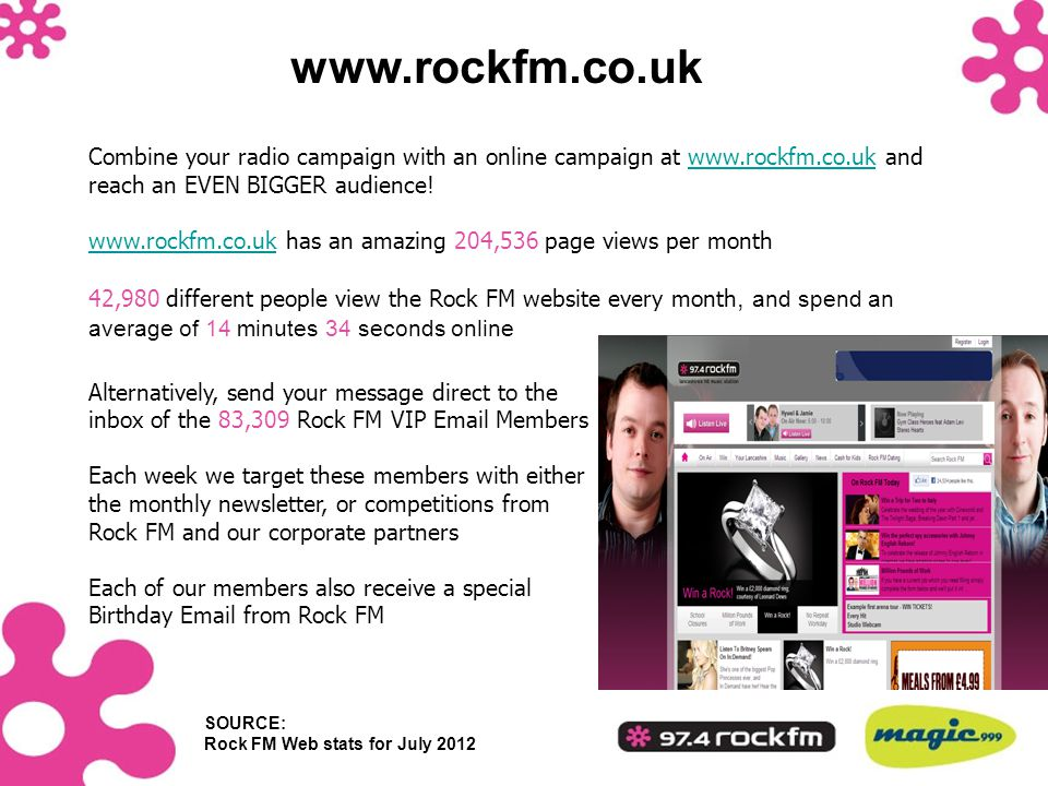 www.rockfm.co.uk Alternatively, send your message direct to the inbox of the 83,309 Rock FM VIP Email Members.
