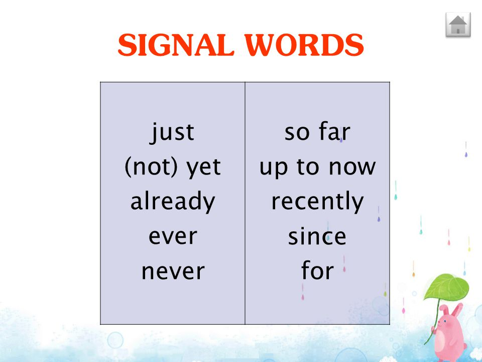 SIGNAL WORDS so far up to now recently since just for (not) yet