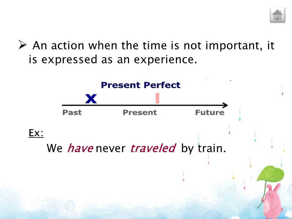An action when the time is not important, it is expressed as an experience.