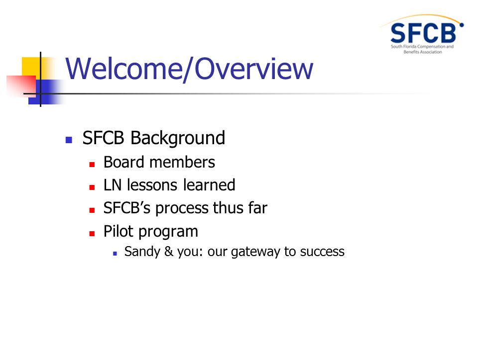Welcome/Overview SFCB Background Board members LN lessons learned