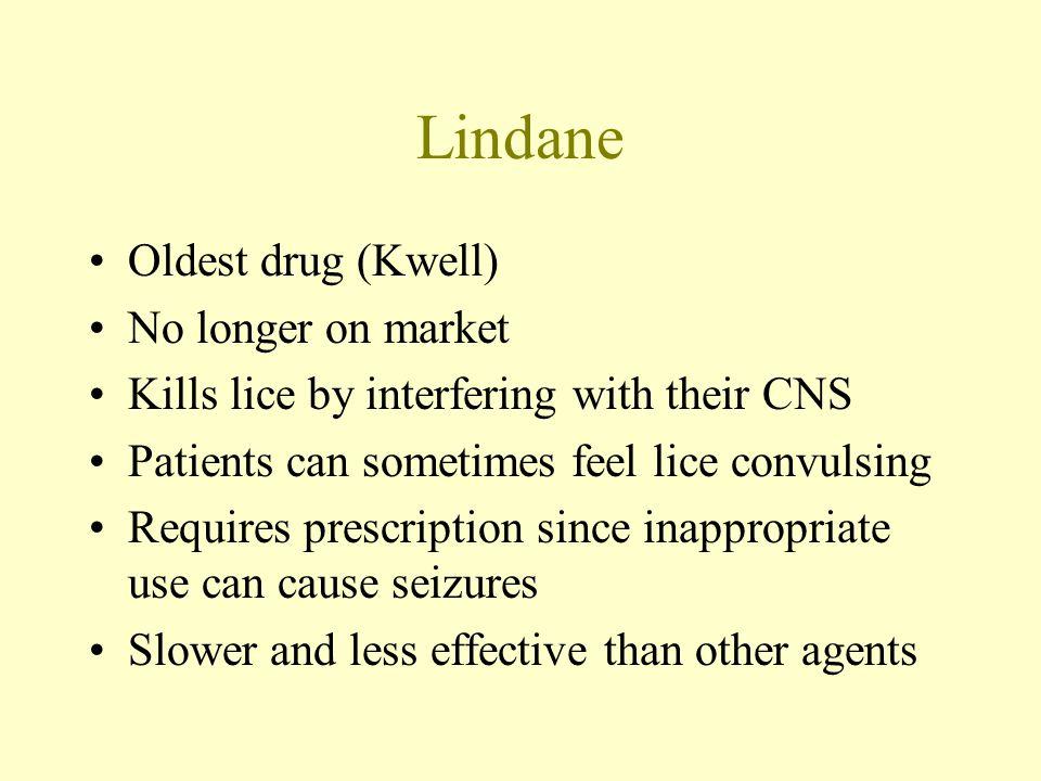Lindane Oldest drug (Kwell) No longer on market