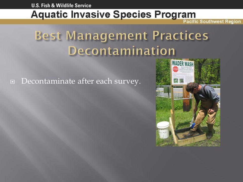 Best Management Practices Decontamination