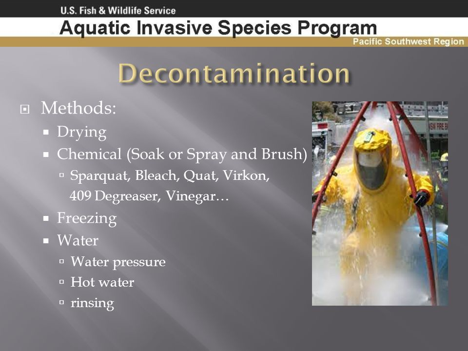 Decontamination Methods: Drying Chemical (Soak or Spray and Brush)
