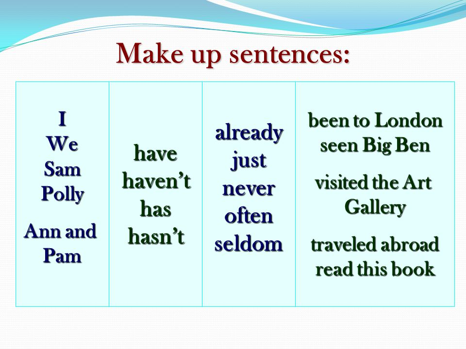 Make up sentences: already have just haven't never has often hasn't