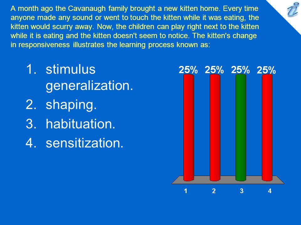 stimulus generalization. shaping. habituation. sensitization.